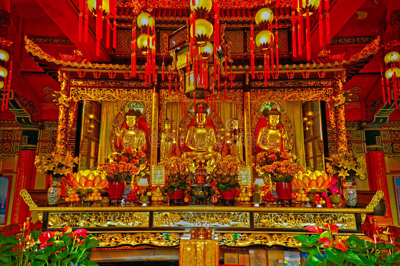 Po lin monastery interior, lantau, hong kong stock image