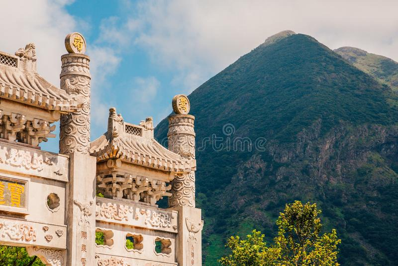 Po Lin Monastery na ilha de Lantau imagens de stock