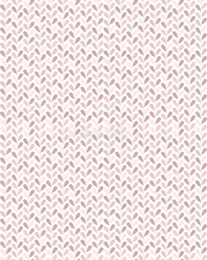 Po prostu i galanteryjnych małych liści wektorowy bezszwowy wzór w pastelowych menchiach tonuje z szewronu spojrzeniem ilustracja wektor