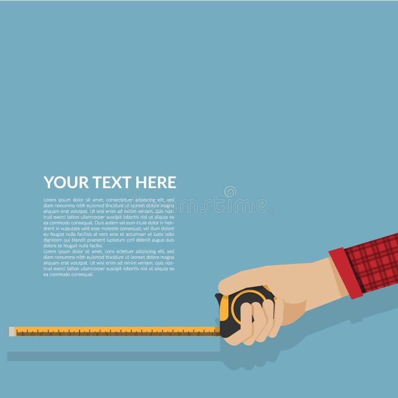Po prostu mierzy taśmy w ręce odizolowywającej na błękitnym tle ilustracja wektor