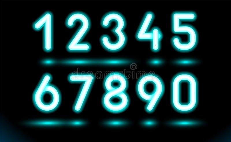 Po prostu ustawiający rozjarzone neonowe liczby dla projekta na czarnym, ciemnym tle, Sieć fluorescencyjny przedmiot, lampa Lumin royalty ilustracja