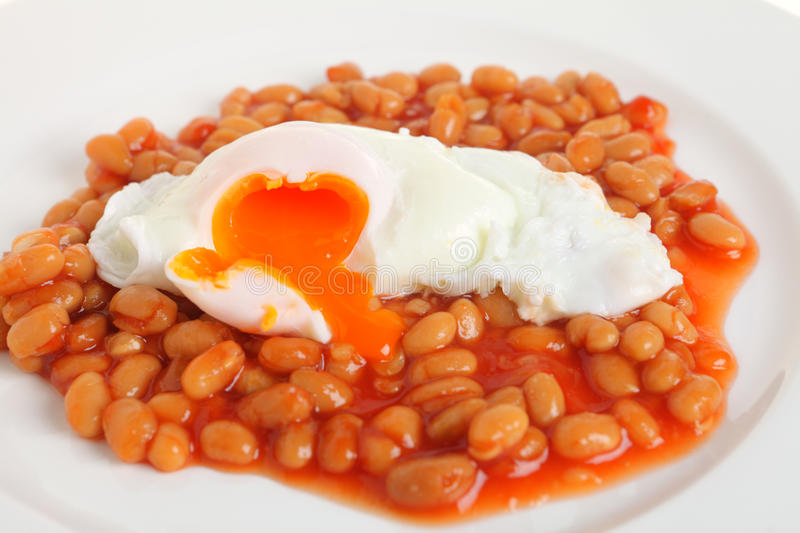 Poached Egg On Baked Beans Stock Image