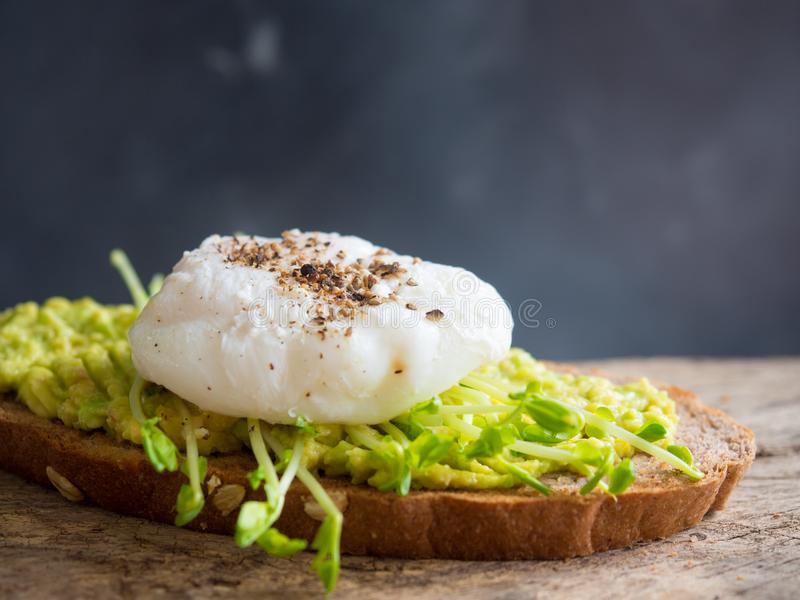 Poached egg and mashed avocado on whole wheat toast. stock image