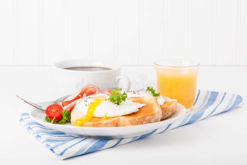 Poached Egg on Toast stock images