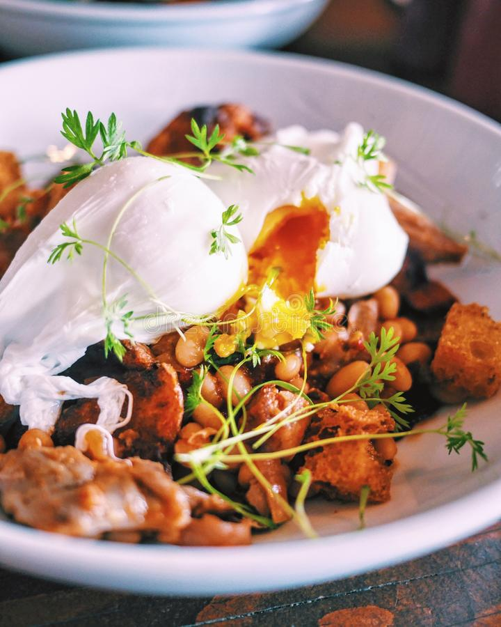 Poached Eggs and Hash for Brunch stock photography