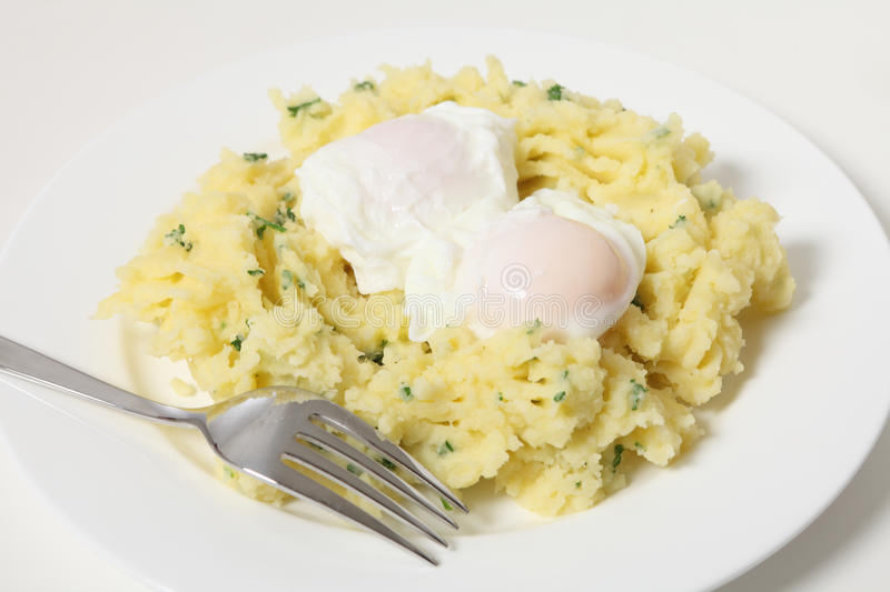 Download Poached eggs and potato stock image. Image of cheap, boiled - 21682589