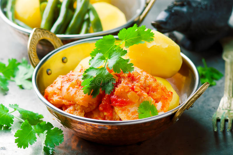 Poached Fish in Tomato Sauce royalty free stock photos