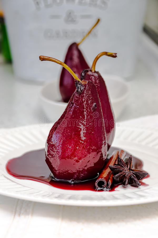 Poached pears royalty free stock photo