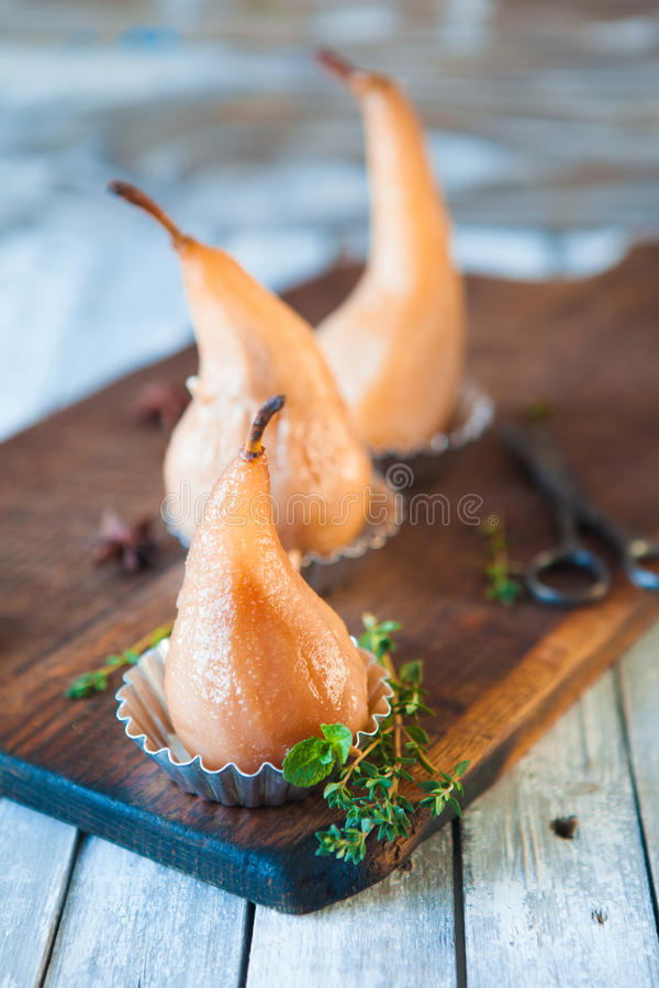 Download Poached Pears With Spices In Syrup Stock Photo - Image: 83708991