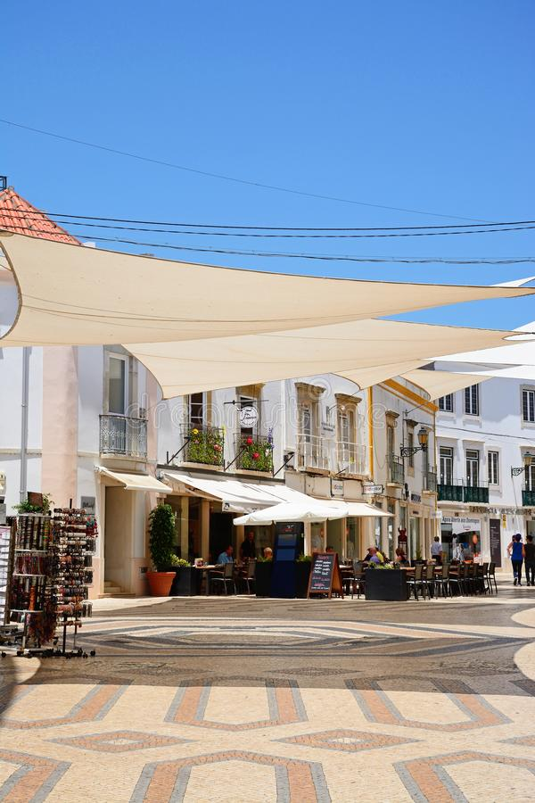 City centre shopping street, Faro. stock image