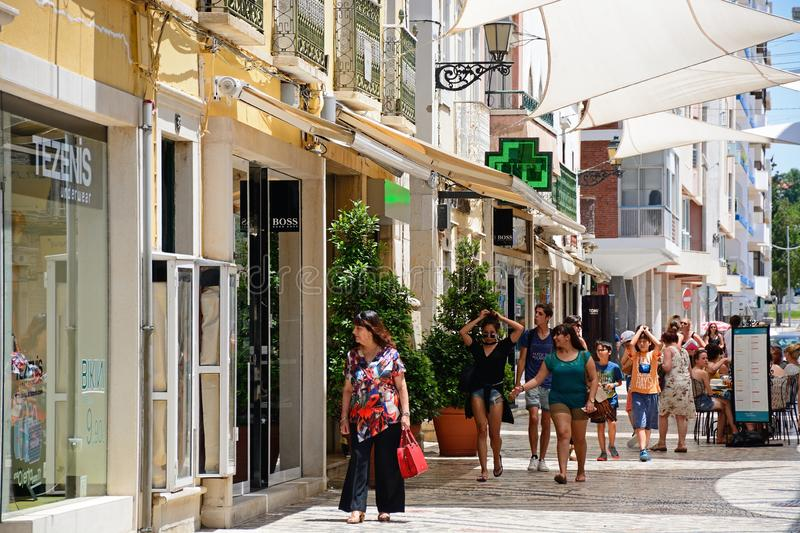 City centre shopping street, Faro. stock images