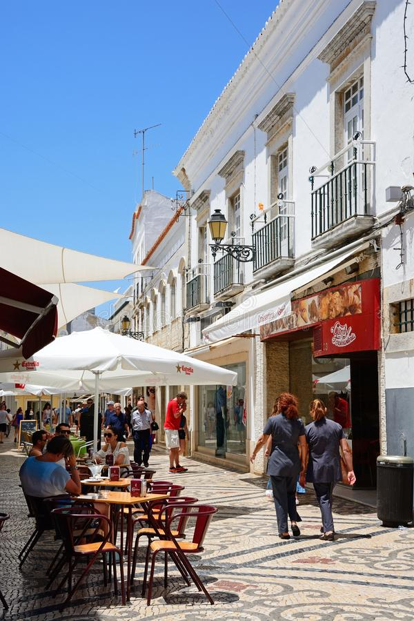 City centre shopping street, Faro. stock photography