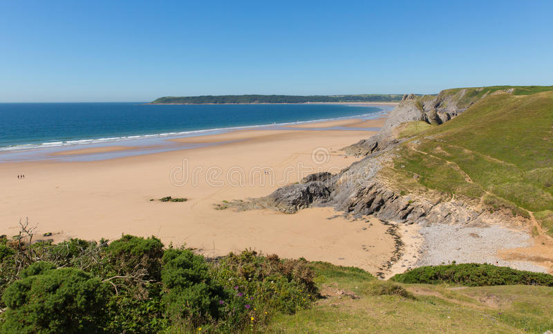 Pobbles beach The Gower Peninsula Wales uk popular tourist destination and next to Three Cliffs Bay in summer royalty free stock images