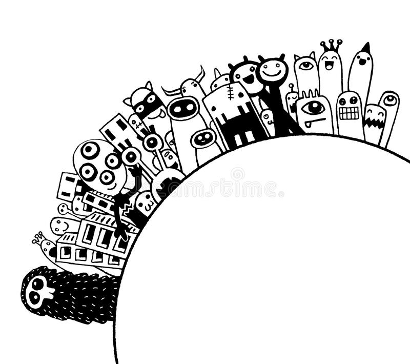 Población de los monstruos de nuestro mundo ilustración del vector