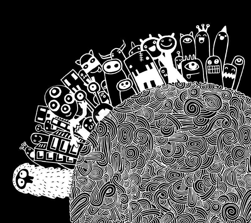 Población de los monstruos de nuestro mundo stock de ilustración