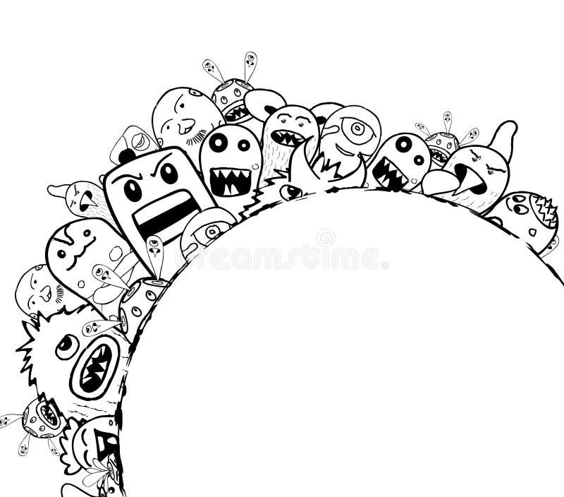 Población de nuestro mundo, monstruo de los monstruos del garabato del dibujo de la mano libre illustration