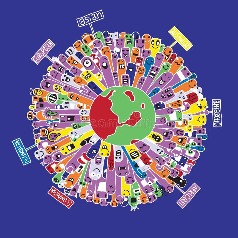 Población del monstruo de nuestro mundo stock de ilustración