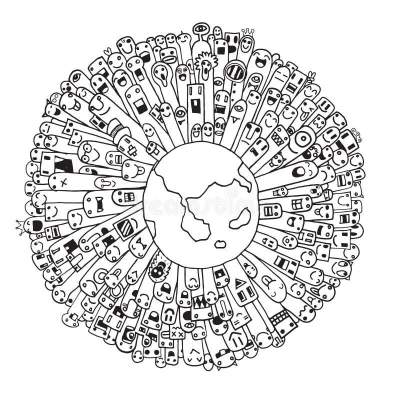 Población del monstruo de nuestro mundo (vector eps10) ilustración del vector
