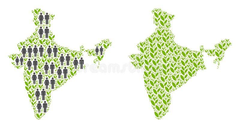 Población y Flora India Map ilustración del vector