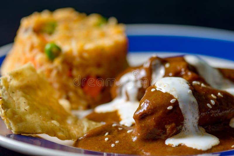 Poblano de taupe avec le poulet, nourriture traditionnelle du Mexique photos stock