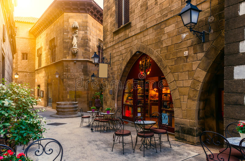 Poble Espanyol в Барселоне, Испании стоковые фотографии rf