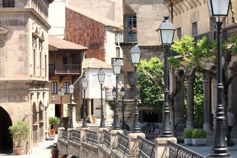 Poble Espanyol en Barcelona, España imagen de archivo