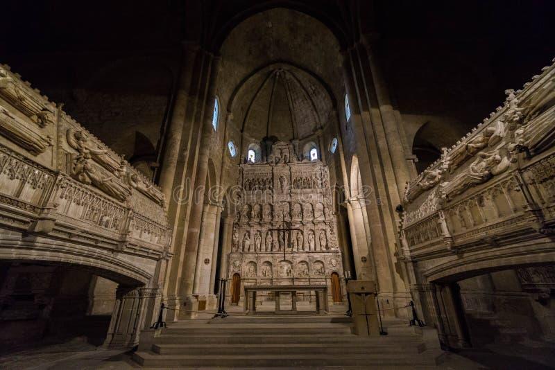 Poblet,塔拉贡纳,西班牙修道院  免版税库存照片