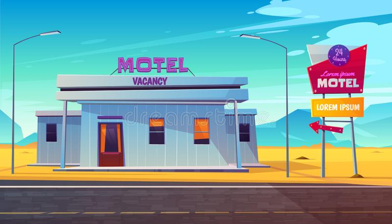 Pobocze motel na deserowym autostrady kreskówki wektorze ilustracji