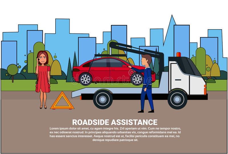 Pobocze pomoc Holuje Łamającego samochód Nad kierowca kobietą Dzwoni W ubezpieczeniu ilustracji