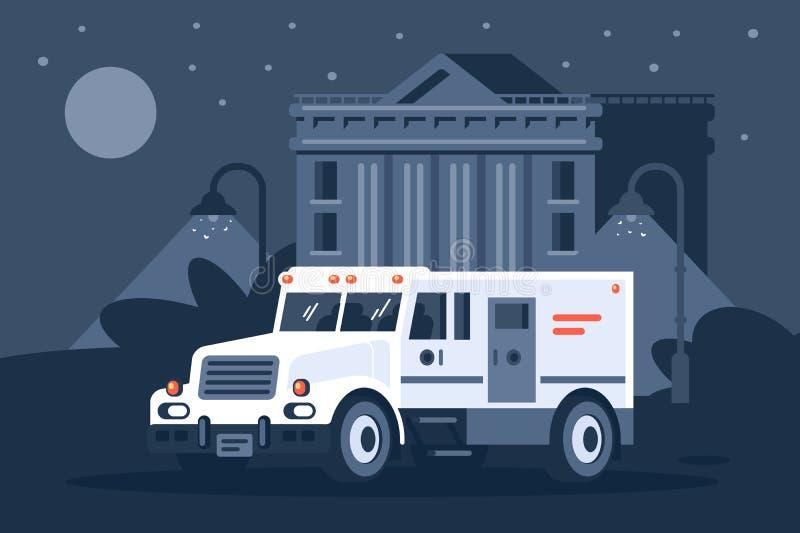 Poborcy s samochód obok banka pod osłoną nocy ilustracji