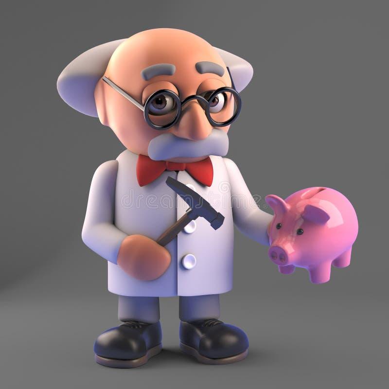 Pobre cientista louco vai esmagar seu banco de porcos, 3d ilustração ilustração royalty free