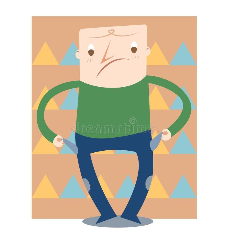 Pobre hombre ilustración del vector