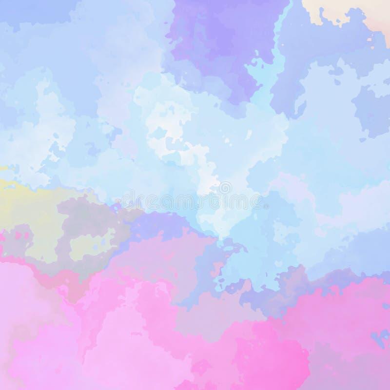 Pobrudzonego deseniowego tekstury tła miękkie pastelowe menchie, błękit, purpury i fiołkowy kolor, akwareli eff - nowożytna obraz ilustracja wektor