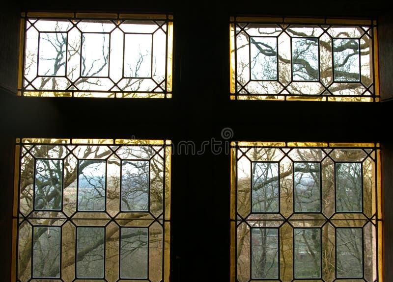Pobrudzony renaissance okno. zdjęcia royalty free