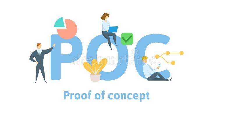 POC, validation de principe Concept avec des mots-clés, des lettres, et des icônes Illustration plate de vecteur D'isolement sur  illustration de vecteur