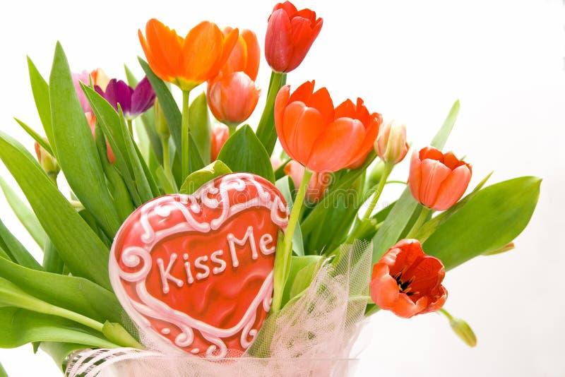 pocałuj mnie tulipanów obraz stock