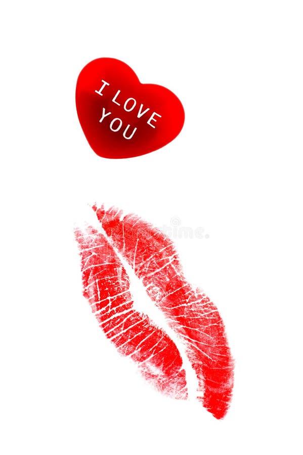 pocałunek serca szminkę obrazy stock