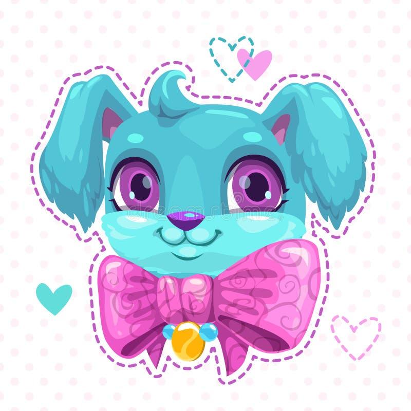 Poca cara mullida azul del perrito de la historieta linda stock de ilustración