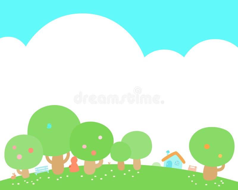 Poca casa al fondo della collina verde illustrazione vettoriale