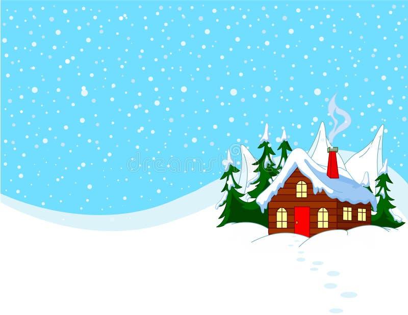 Poca casa en colinas nevosas stock de ilustración