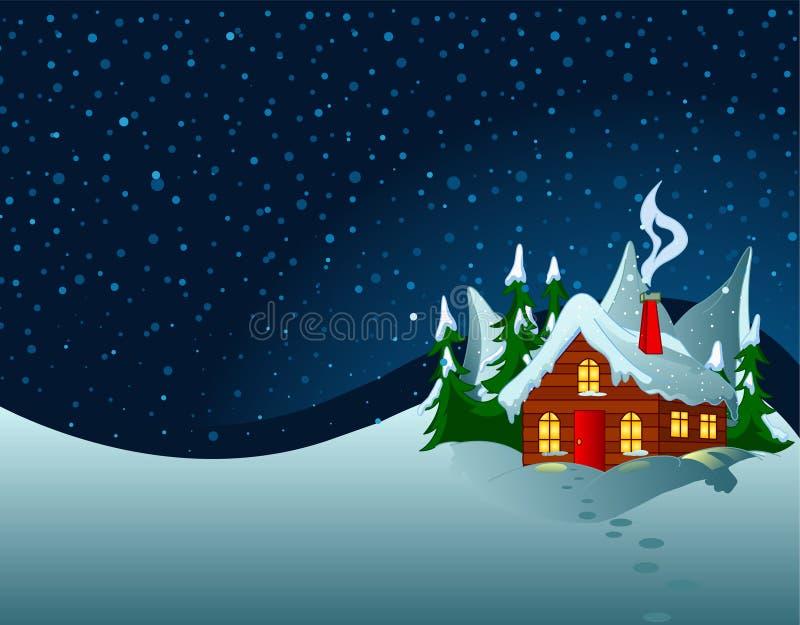 Poca casa en colinas nevosas ilustración del vector