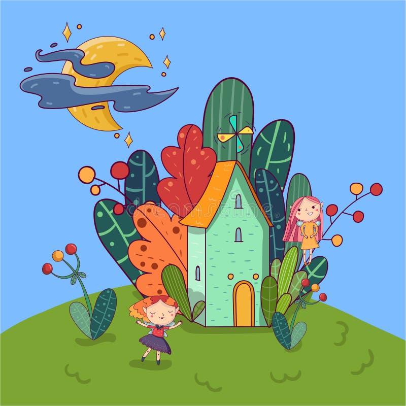 Poca casa rodeada por las plantas Muchachas de hadas que se divierten en yarda Luna brillante con las estrellas en el cielo Paisa libre illustration