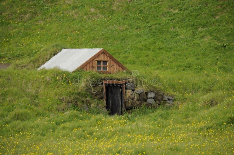 Poca casa tradizionale dell'Islanda immagine stock