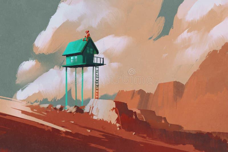 Poca casa verde en los cantos rodados grandes ilustración del vector