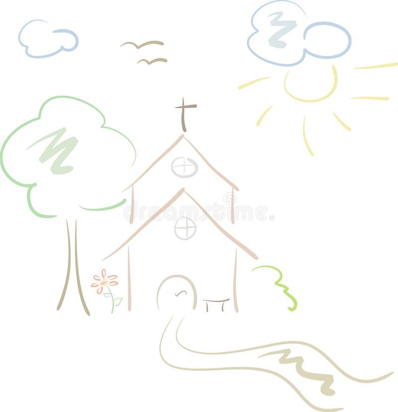 Poca chiesa del paese in pastelli illustrazione di stock
