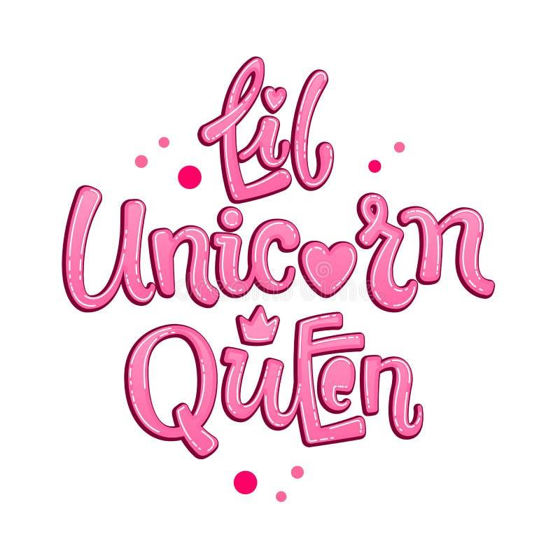 Poca citazione di Unicorn Queen Frase d'iscrizione disegnata a mano di logo della ragazza di tema di favola illustrazione vettoriale