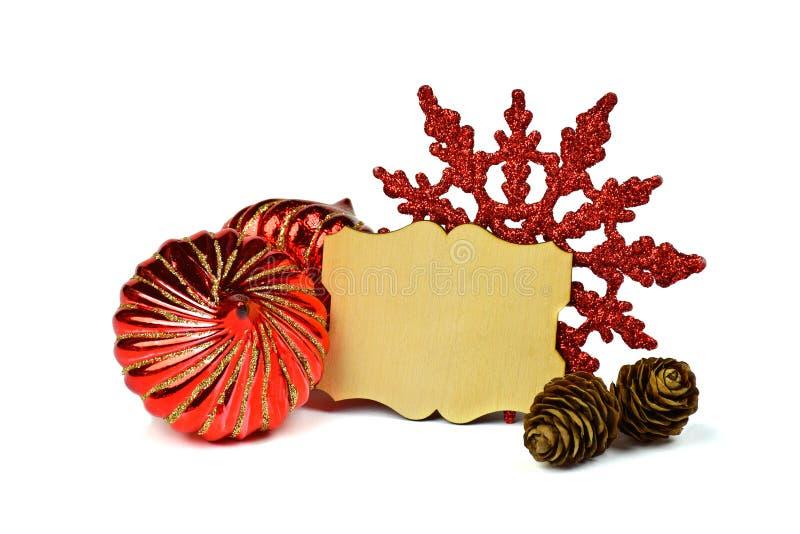 Poca composición de la Navidad con el marco Estilo rústico / Aislante foto de archivo libre de regalías