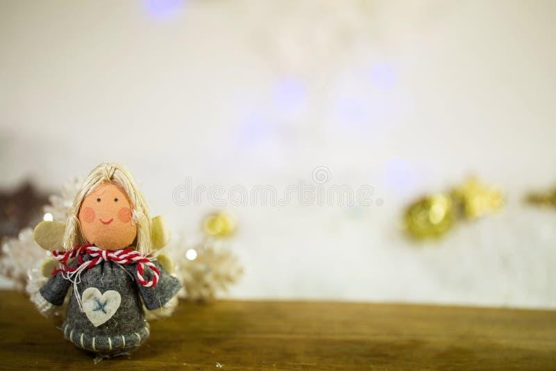 Poca decorazione delle FO di angelo, bokeh immagine stock libera da diritti