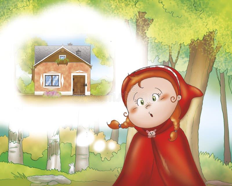 Poca guida rossa nel legno illustrazione vettoriale