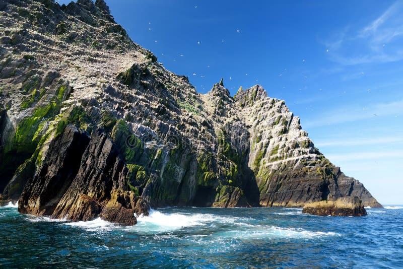 Poca isla de Skellig, hogar a muchas diversas aves marinas y la segundo mayor colonia de los gannets en el mundo, condado Kerry,  imagen de archivo libre de regalías